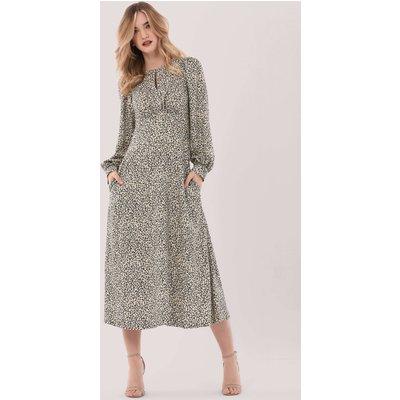 Closet London Cream Print Puff Sleeve Midi Dress