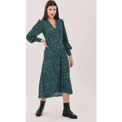 Closet London Blue High-Low Wrap Print Midi Dress