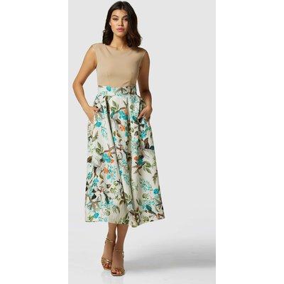 Closet London Camel Pleated Floral Print Skirt Midi Dress