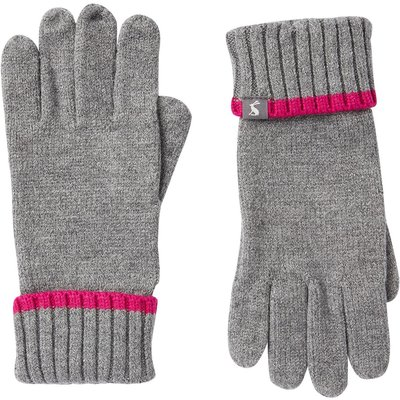 Joules Snowday Knitted Gloves Charcoal