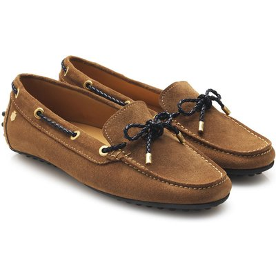Fairfax & Favor Womens Henley Loafers Navy/Tan Suede