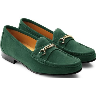 Fairfax & Favor Womens Apsley Suede Loafer Emerald Green
