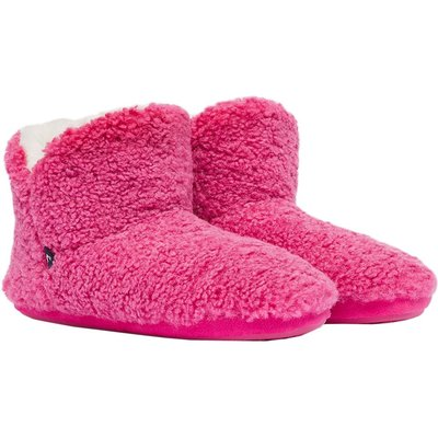 Joules Womens Cabin Luxe Faux Fur Lined Slipper Pink Large