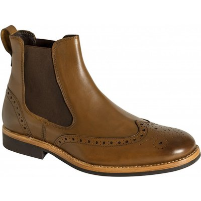 Hoggs Of Fife Mens Stanley Semi-Brogue Dealer Boots Burnished Tan