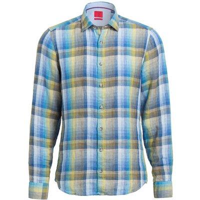 Olymp Leinenhemd Level Five Casual Body Fit blau