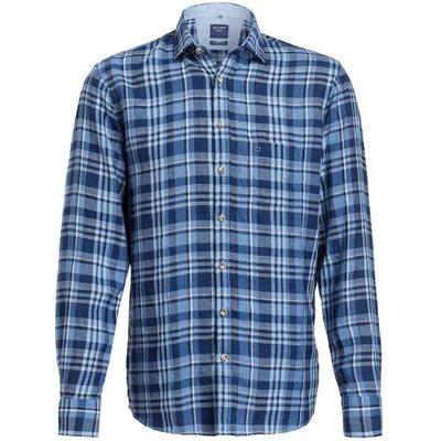 OLYMP Olymp Leinenhemd Casual Modern Fit blau