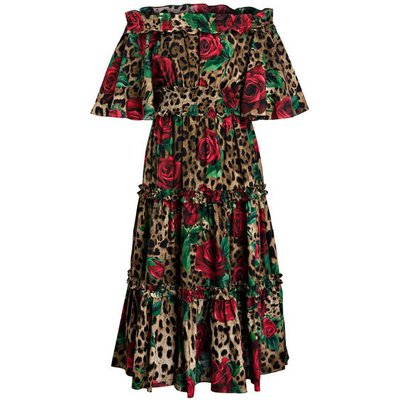DOLCE & GABBANA Dolce&Gabbana Off-Shoulder-Kleid rosa