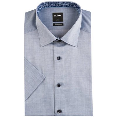 OLYMP Olymp Halbarm-Hemd Luxor Modern Fit blau