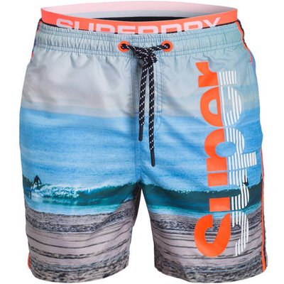 SUPERDRY Superdry Badeshorts Photographic Volley blau