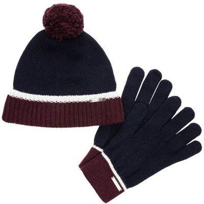 Ted Baker Set: Handschuhe Und Mütze blau