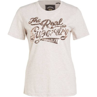 Superdry T-Shirt The Real Sequin Entry beige