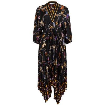 Sandro Plissee-Kleid Mit 3/4-Arm schwarz
