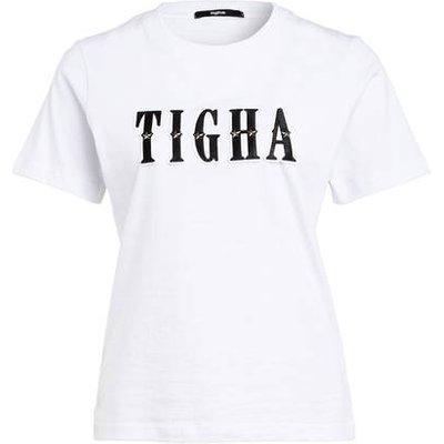 Tigha T-Shirt Letter Mit Nietenbesatz weiss