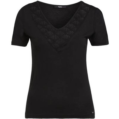 Tigha T-Shirt Mit Spitzeneinsatz schwarz