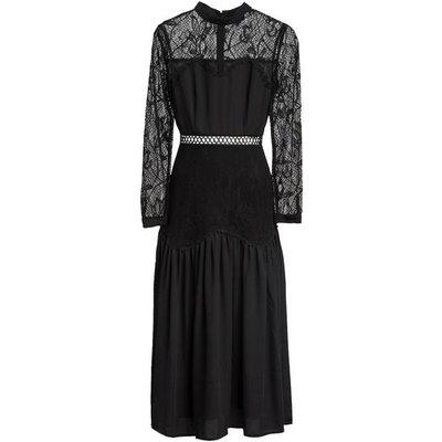 Tigha Kleid Eliza Mit Spitzenbesatz schwarz