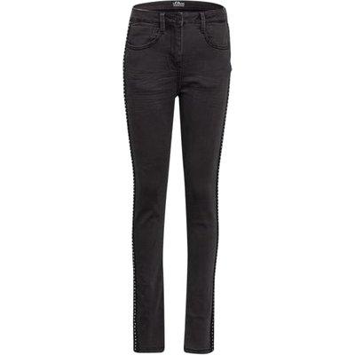 S.Oliver Skinny Jeans Mit Galonstreifen schwarz