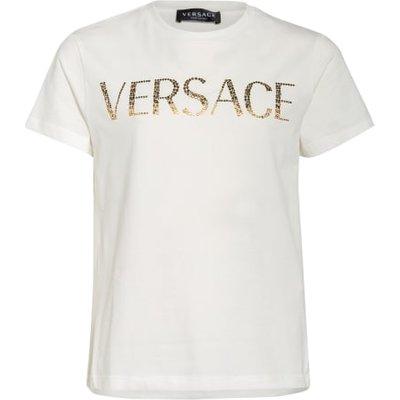Versace T-Shirt Mit Schmucksteinbesatz weiss | VERSACE SALE