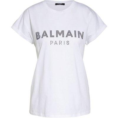 Balmain T-Shirt Mit Schmucksteinbesatz weiss   BALMAIN SALE