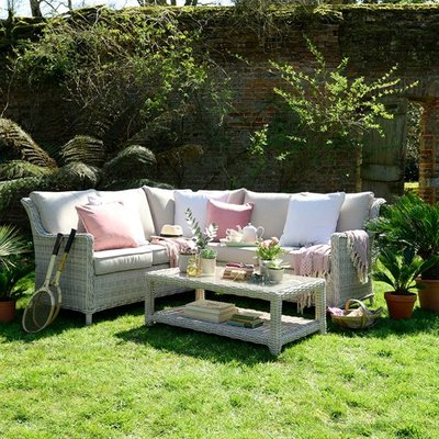 Hampton Rattan 3 Piece Corner Garden Lounge Set