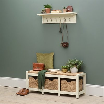 Farmhouse Painted Wicker Storage Seat and Wall Hook Set - Ivory