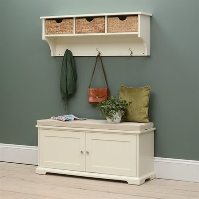 Farmhouse Painted Hallway Bench and Shelf Set