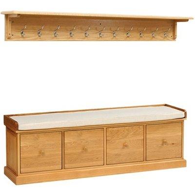 Appleby Oak 4 Drawer Shoe Bench and Hooks Set