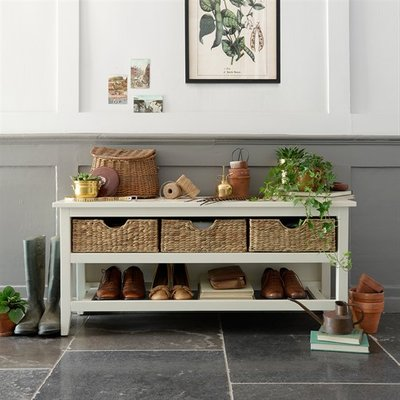 Farmhouse Painted Shoe Storage Console - Ivory