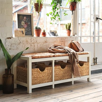 Farmhouse Painted Wicker Storage Seat - Ivory