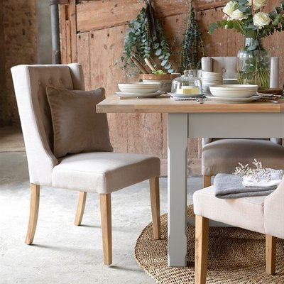 Foxglove Straight Back Buttoned Chair - Cream