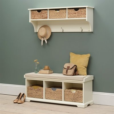 Farmhouse Painted Bench and Shelf Set