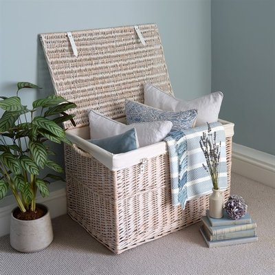 White Wash Large Storage Hamper