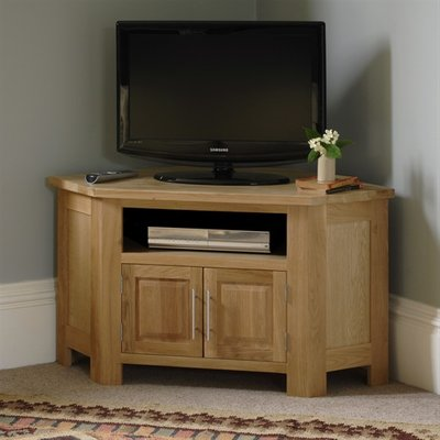 Newark Oak Corner TV and DVD Cabinet - up to 47