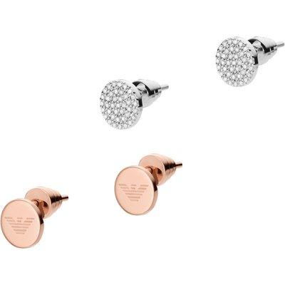Emporio Armani Pave Disc Stud Ohrringe Set Sterling-Silber EG3333040
