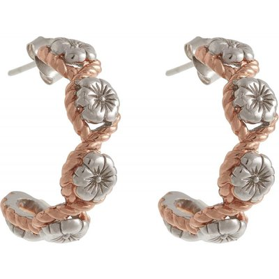 Olivia Burton keine & Sterling Silver Flower Show Rope Hoop Ohrringe rosévergoldet OBJ16FSE07   OLIVIA BURTON SALE