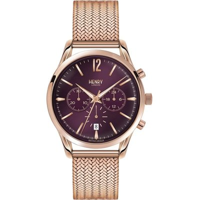 Henry London Heritage Hampstead Unisexchronograph in Rosa HL39-CM-0088