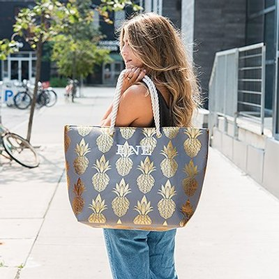 Personalised Extra-Large  Cotton Canvas Fabric Beach Tote Bag - Gold Pineapple
