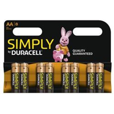 Duracell Simply (AA) Alkaline Batteries (Pack of 8) - MN1500B8SIMPLY