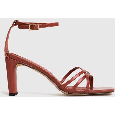Schuh Orange Samara Strippy Block Heel Sand High Heels