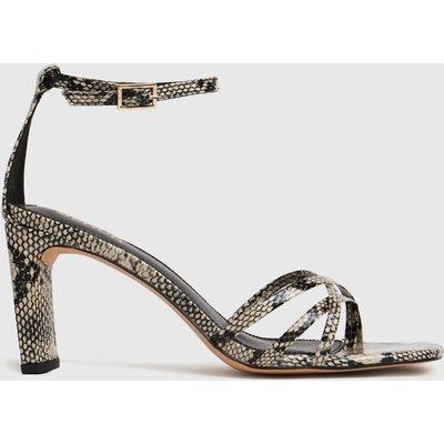 Schuh Beige & Brown Samara Strippy Block Heel High Heels