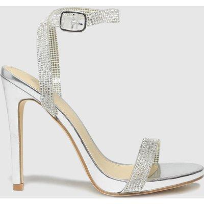 Schuh Silver Stella Embellished Heel Sandal High Heels