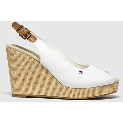 Tommy Hilfiger White Iconic Elena Slingback Wedg High Heels