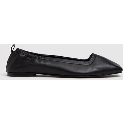 Schuh Black Lenore Square Toe Ruched Flat Shoes
