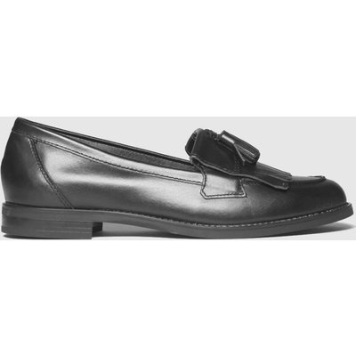 Schuh Black Leather Compass Loafer Flat Shoes