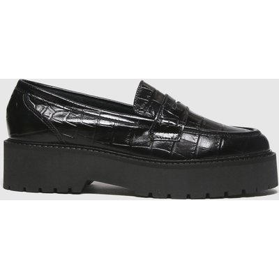 Schuh Black Laura Croc Leather Loafer Flat Shoes