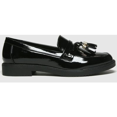 Schuh Black Knowledge Black Patent Loafer Flat Shoes