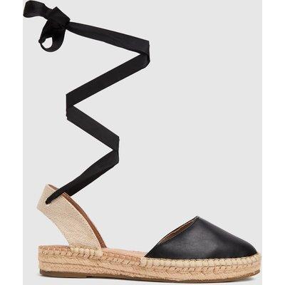 Schuh Black Lorna Espadrille Tie Up Sandals