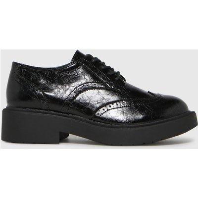 Schuh Black Leebo Patent Brogue Lace Up Flat Shoes