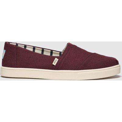 Toms Burgundy Alpargata Cupsole Vegan Flat Shoes