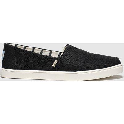 Toms Black & White Alpargata Cupsole Flat Shoes