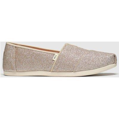 Toms Pink Alpargata Glitter Flat Shoes